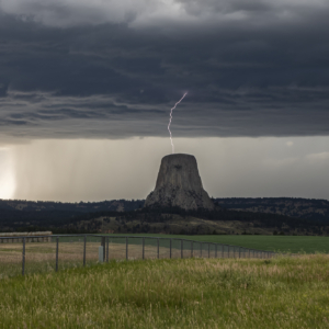 Lightning strike on top of Devil's Tower