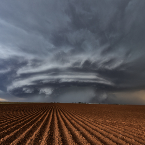 Pretty supercell over cotton fields on Texas Panhandle