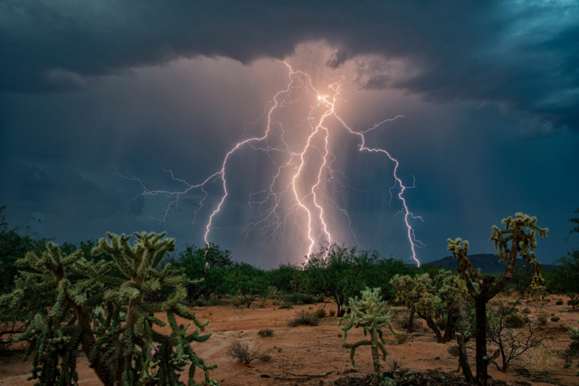 lightning bolts illuminate a desert landscape
