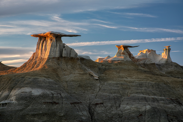 rock formations eroded into flat tops that appear like wings