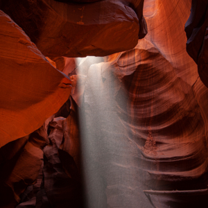 light beam from a slot canyon ceiling