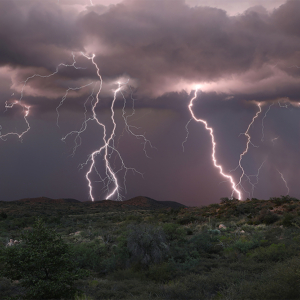 multiple lightning strikes over the desert outside Oracle, Arizona