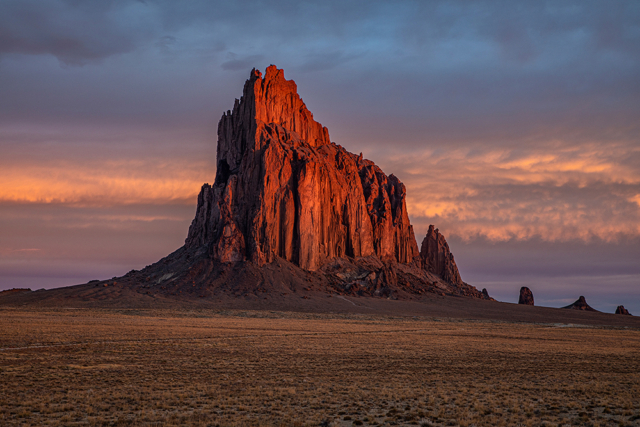 the majestic volcanic plug of shiprock in Arizona