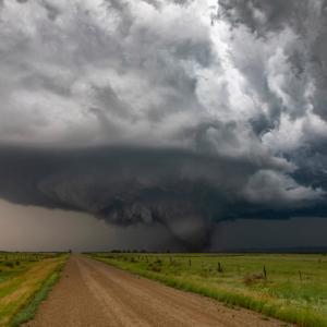 wide shot of a mesocyclone and violent tornado